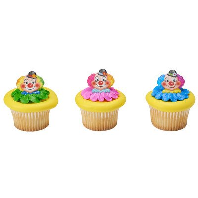 Clown Cake Toppers - 24 Pack Jolly Clowns Cupcake Rings Cake Toppers