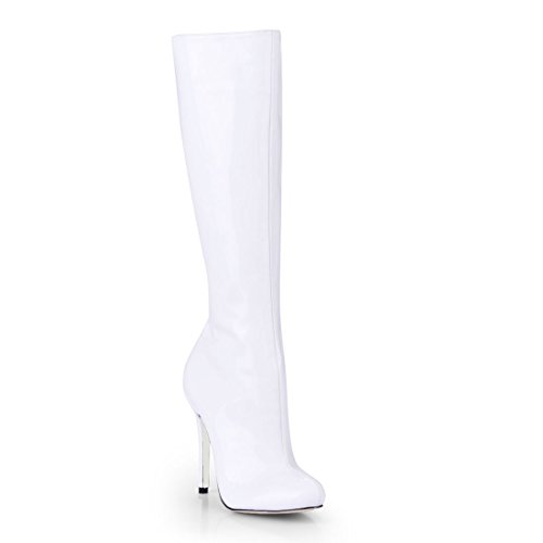 CHMILE CHAU Women Patent Fashion Knee-High Boots Sexy Stiletto High Heeled Long Boots White