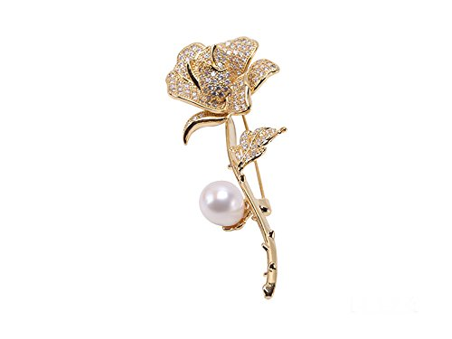 Pearl Gold Cultured Brooch (JYX Lovely Flower Rose Freshwater Cultured Pearl Wedding Brooches)
