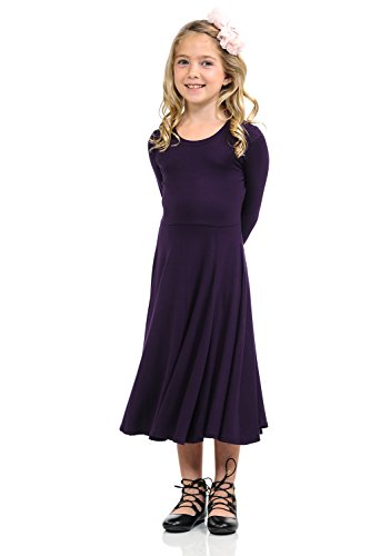 Pastel by Vivienne Honey Vanilla Girls' Princess Seam A-Line Dress with Full Skirt X-Large 11-12 Years Eggplant ()