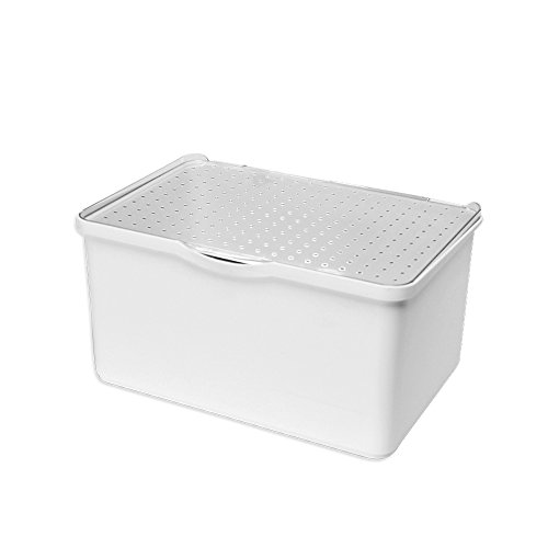 madesmart Medium Stacking Lid Bin - White | STACK COLLECTION | Attached Clear Lid for Visibility | Multi-use Organizer | Non-slip Rubber Feet | BPA Free