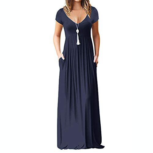 Women's Casual Sleeve V-Neck Solid Maxi Tank Long Dress