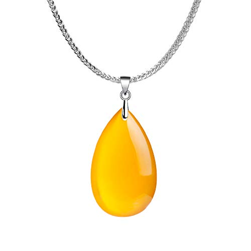 Sterling Silver Agate - iSTONE 925 Sterling Silver Natural Gemstone Yellow Agate Water Drop Ladies Pendant Necklace, Gemstone Birthstone with 18