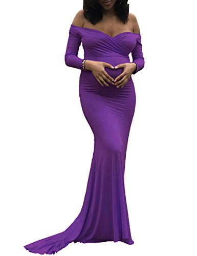 Saslax Maternity Elegant Fitted Maternity Gown Long Sleeve Slim Fit Maxi Photography Dress Purple S
