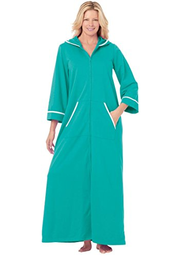 Dreams & Co. Women's Plus Size Hooded French Terry Long Robe Aquamarine,1X (Womens Plus Size Robes)