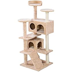 XLO Multi-Level Cat Tree with Sisal-Covered Scratching Posts, Plush Perches, Basket and Condos, Kittens Tower Furniture