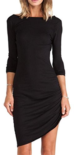 ARRIVE GUIDE Womens Long Sleeve Crewneck Solid Pleated Casual Dresses Black Small