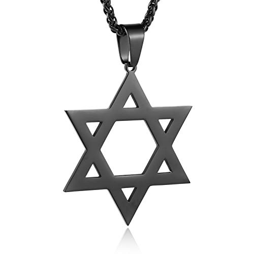 HZMAN Polishing Magen Star of David Stainless Steel Pendant Necklace for Women Men (Black)