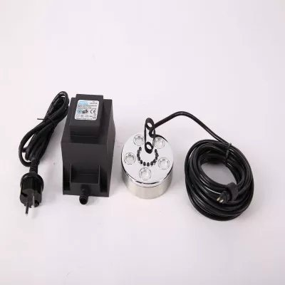 Ultrasonic Mist Maker Fogger 5 Head Humidifier + Transformer 1500ml/h with color light for hydroponics, propagation, foliar feeding, grow room and greenhouse humidity generation, etc.