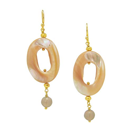 (Chan Luu Oval Earrings Natural Mother of Pearl and Gold Vermeil)