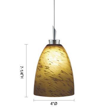 Jesco Lighting QAP220 Goblet - One Light Quick Adapt Low Voltage Pendant, Chrome Finish with Amaretto Glass