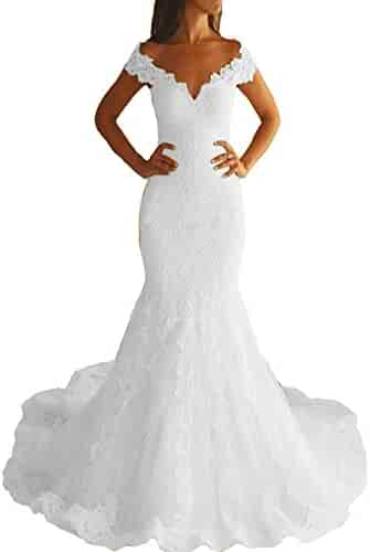 4c6c6584a02 IVYPRECIOUS Off The Shoulder Long Lace Wedding Dresses Mermaid Gowns with  Court Train