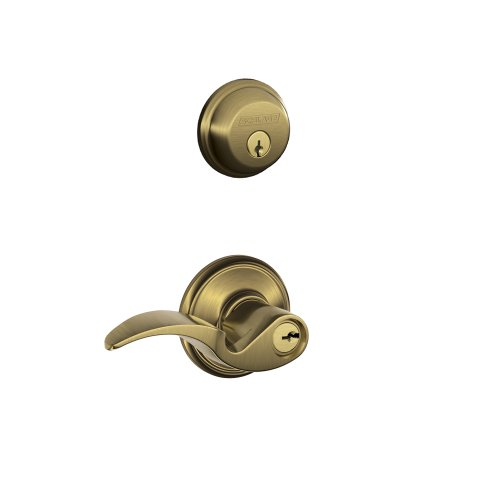 Schlage FB50N V AVA 609 B60 Single Cylinder Deadbolt and F51 Keyed Entry Avanti Lever Keyed Alike, Antique Brass -