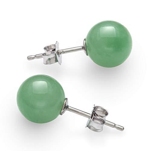 (Sterling Silver Natural Green Jade Round Stud Earrings (8mm))