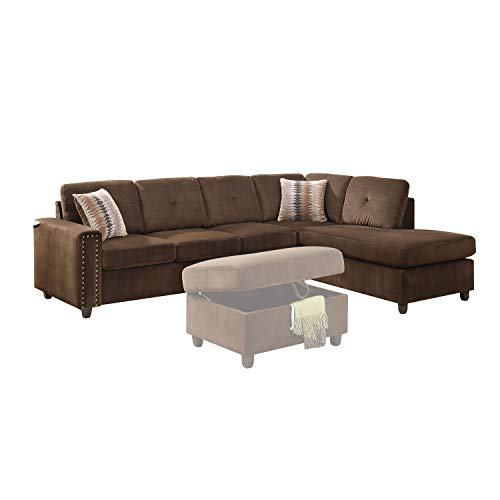 ACME Belville Chocolate Velvet Reversible Sectional Sofa with Pillows