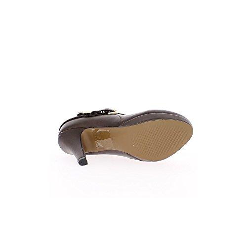 Bottines femme marrons à talon de 10cm et mini plateforme