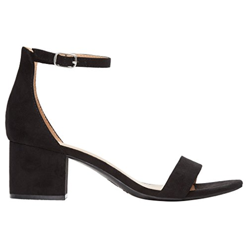 Rohb by Joyce Azria Calypso Mid Heel Ankle Strap Sandal (Black) Size - Platform Leather Side West