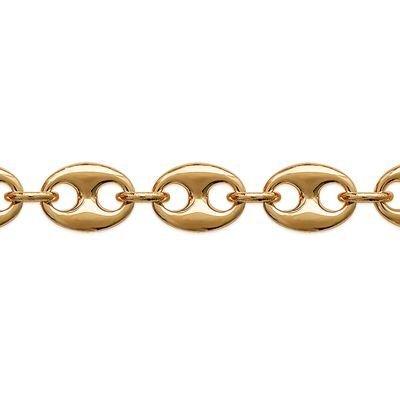So Chic Bijoux © Bracelet Gourmette 21 cm Maille Grain de Café 10 mm Plaqué Or 750