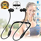 Bluetooth Headphones Wireless Neckband Flexible Sports Headset Stereo Secure Fit in-Ear Earphones Magnetic Headphone Noise Canceling Sweatproof Earbuds with Mic for Running Exercising Gym Workout