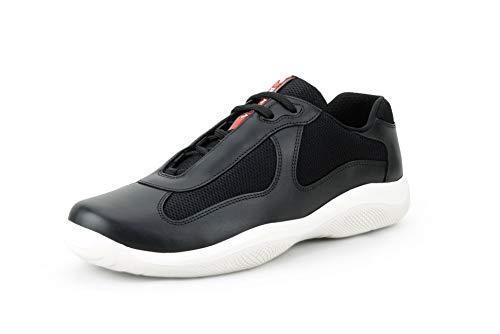 (Prada Men's 'America's Cup' Leather with Mesh Sneaker, Nero (Black) (11.5 US 10.5 UK))