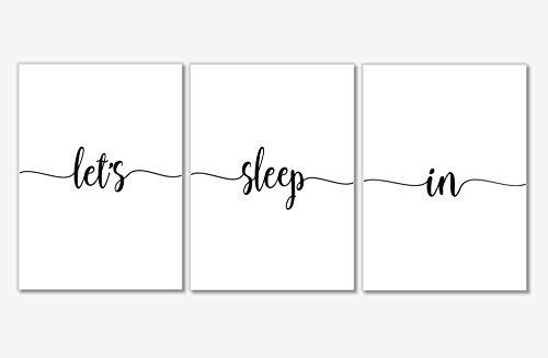Bedroom Wall Decor - Let's Sleep In Art Prints - Set of 3-8x10 - Unframed