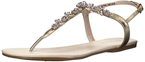 Touch Ups Prom Shoes - Touch Ups Women's Paula Flat Sandal, Gold, 10 M US