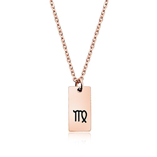 ENSIANTH Rose Gold Zodiac Sign Tag Necklace Tiny Constellation Pendant Necklace Birthday Gift for Her (Tiny Tag Necklace)