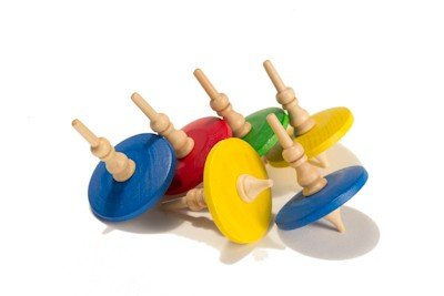 High Quality Wooden Tops, Great Fun for Kids! (Set of 6) by MazaaShop