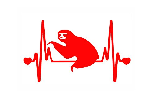 Stickerdad Sloth V2 Heartbeat Lifeline Vinyl Decal (Size: 7&Quot;, Color: Red) For Windows, Walls, Bumpers, Laptop, Lockers, Etc. -