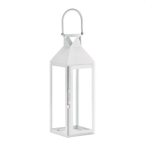 "[3 Large 15"" Tall White Candle Holder Lantern Light Terrace Outdoor Garden Patio] (Terrace 3 Light Pendant)"