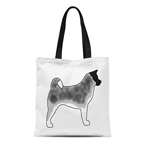 - Semtomn Cotton Line Canvas Tote Bag Inu Akita Silver Black Overlay Dog Pet Ken Japanese Reusable Handbag Shoulder Grocery Shopping Bags