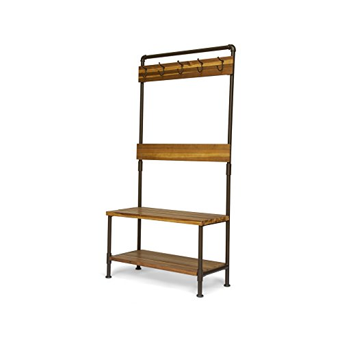 Great Deal Furniture Carlos Outdoor Industrial Acacia Wood Bench with Shelf and Coat Hooks, Teak Finish ()