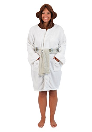 [Star Wars Princess Leia Womens Fleece Bathrobe & Swim Suit Cover Up OSFM] (Princess Leia White Robe)