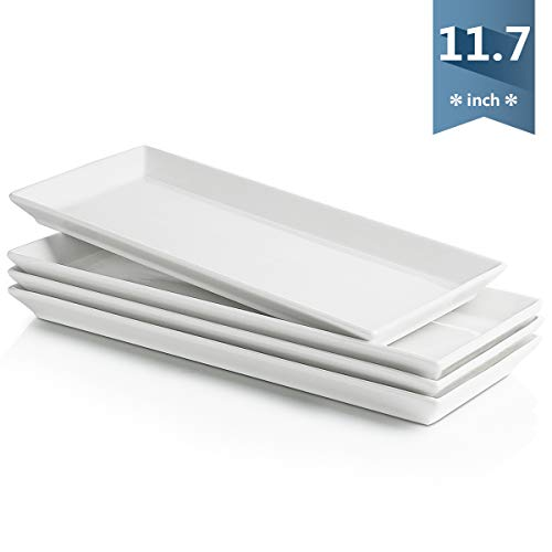 (Sweese 3307 Rectangular Porcelain Platters/Serving Trays for Parties - 11.7 Inch, Set of 4 & White)