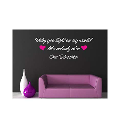 (Dailinming PVC Wall Stickers English LIGHT UP love fashion living room bedroom children's room decor can be removedWallpaper58cm x20cm-Rose)