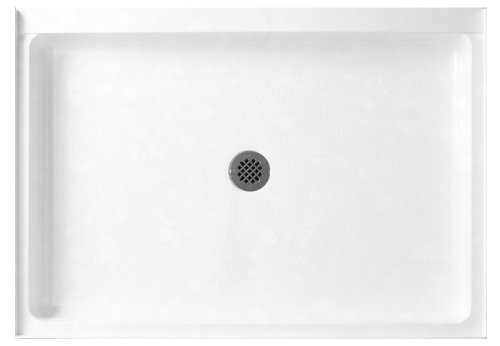 Swanstone SS-3448-011 Solid Surface Center Drain Shower Base, 48 34-Inch by 5-1/2-Inch, Tahiti White