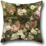 Ivory Stripes May Arts - The Oil Painting Maria Oakey Dewing - Garden In May Pillow Shams Of ,16 X 16 Inches / 40 By 40 Cm Decoration,gift For Kids Boys,adults,gril Friend,bedding,car,wife (both Sides)
