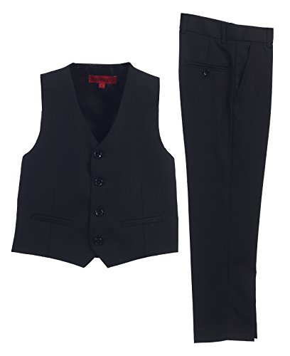 2 Piece Kids Boys Black Vest and Pants Formal Set, - Dress Black Boys