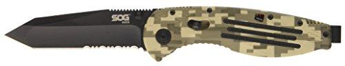 SOG Specialty Knives 257396 Aegis Digi Camo - Black TiNi, Tanto, Serr