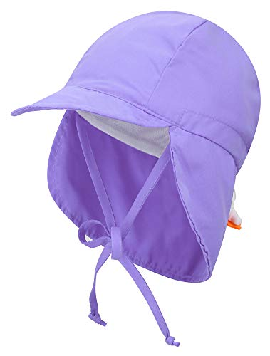 Livingston Baby Beach Hat Kid's SPF 50+ UV Sun Protective Sun Hat w/Neck Flap,Light Purple
