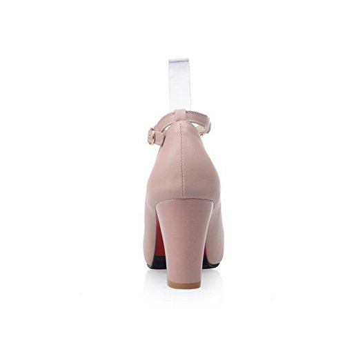 Light Urethane Chunky Weight Pink SDC03626 Pumps Shoes Ankle Strap Heels AdeeSu Solid Womens 8FBnT4f