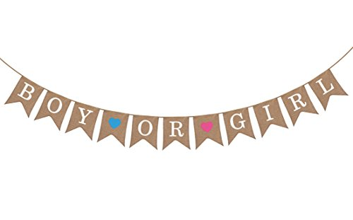 "Gender Reveal Party - Baby Shower Decorations - ""Boy or Girl"" Burlap Banner by Sterling James Co. – Pregnancy Announcement"