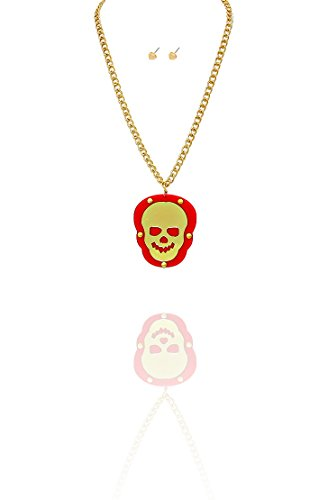White Raven Cosplay Costume (Kigmay Jewelry Gold-Tone Red Riveted Skull Pendant Chain Necklace for Women, 26