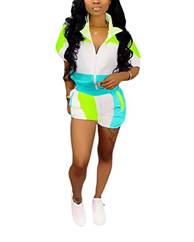 2 Piece Block Outfits - Casual Short Sleeve Long Sleeve Zip Up Jacket Hot Pant Sets Green M