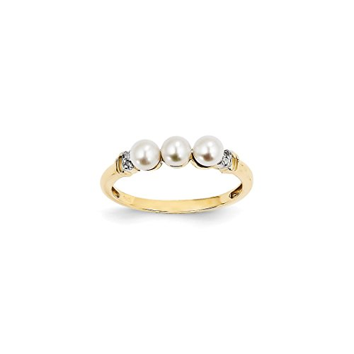 Gold Ring 14kt Ladies Pearl (ICE CARATS 14kt Yellow Gold Diamond Freshwater Cultured Pearl Band Ring Size 7.00 Fine Jewelry Ideal Gifts For Women Gift Set From Heart)