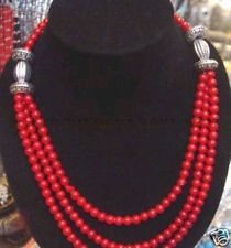 Tibet Silver Coral Bead - 17-20inch Beautiful Tibet silver 6mm Red Coral round beads necklaces