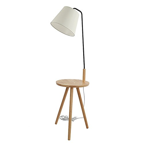 Kshioe Floor Lamp with Built-in Two-Tier Table with Open Display Space (Wooden Colored) (Tier Lamp 2)