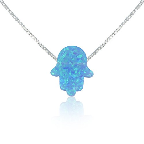 Light Blue Opal Hamsa Hand Necklace - 15 to 22 Inch Sterling Silver Box - Silver Hand Pendant