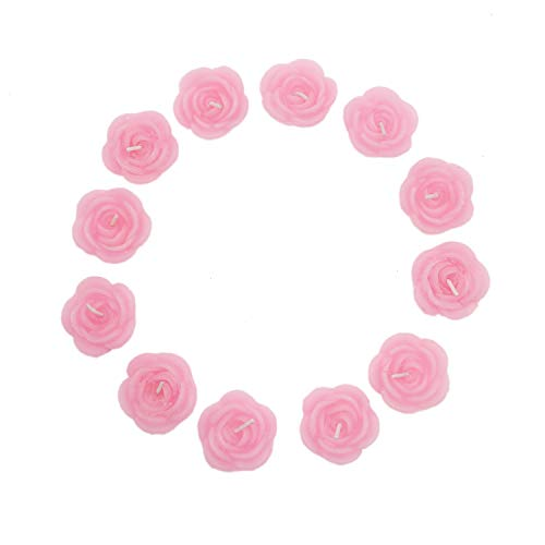 Buorsa 12 Pcs Pink Rose-Shaped Floating -