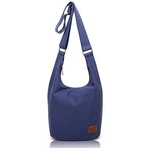 (coton pose Hippie Crossbody Bag Thai Top Zip Hobo Sling Bag Cotton Jacquard cloth Handmade Bags (Blue), long10